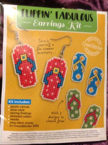 Summer Flip Flops Earrings Cross Stitch Kit