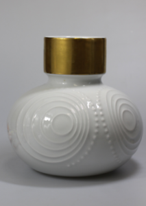OP-Art-Design-Gareis-Waldsassen-Pop-Art-Porzellan-Vase-Weiss-Gold-70-er
