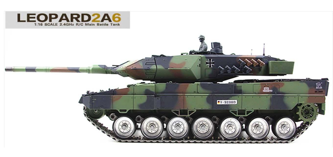 Heng Long Radio Remote Control RC Tank  NATO Leopard 2A6  -- Platinum -- 6.0 V
