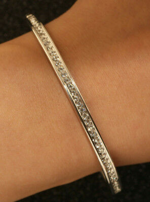 "14k Yellow Gold Finish 0.25ct Diamond 7/"" Bangle Bracelet Very Unique Gift"
