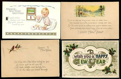 Vintage Hy New Year Postcards Mixed Lot Of 8 Ebay