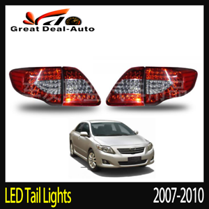 LED-Tail-Light-Red-Clear-Rear-Lamp-Pair-For-Toyota-Corolla-2007-2008-2009-2010