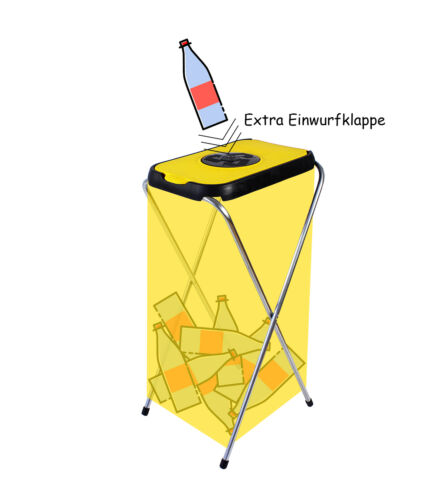 2x Müllsackständer 120L Gelber Sack Halter Müllbeutel Behälter Abfalleimer gelb