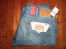 $148 LEVIS 505 C SLIM STRAIGHT LEG RED LINE SELVEDGE ZIP FLY DENIM JEANS 38X34
