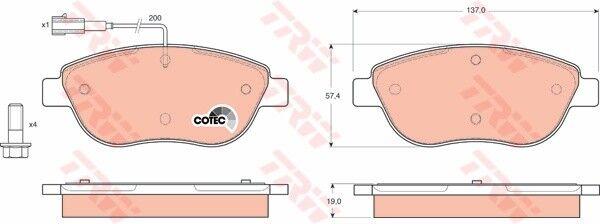 TRW Bremsbelagsatz Scheibenbremse GDB1483 vorne für FIAT STILO Multi Wagon IDEA