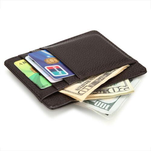 Genuine Leather Slim Credit ID Card Holder Wallets Front Pocket Wallets For Men