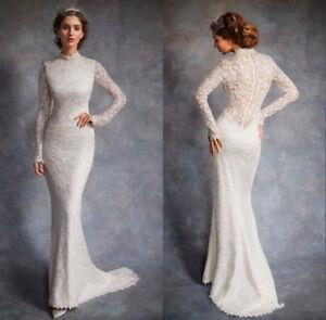 Modest Mermaid High Neck Long Sleeves Wedding Dress Lace Bridal Gown 2 4 6 8 10 Ebay
