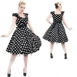 BLACK-POLKA-DOT-TEA-DRESS-by-HEARTS-amp-ROSES-LONDON-ALTERNATIVE-50-039-s-VINTAGE