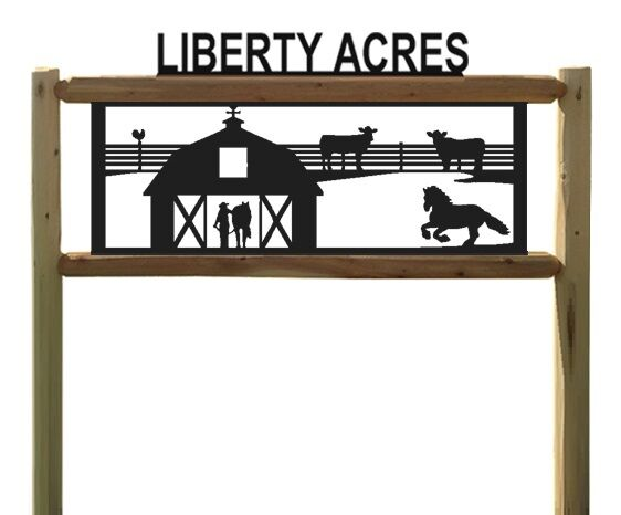 PERSONALIZED FARM HORSE SIGN - LOG SIGNS - FARM AND RANCH DECOR