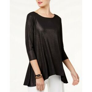 ALFANI-NEW-Women-039-s-Black-Metallic-Swing-High-low-Casual-Shirt-Top-TEDO