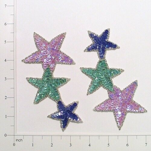 Expo Southwest Cascading Star Sequin Applique Pack of 2