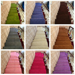 13pcs stair treads rectangle non slip carpet mats indoor for Durable carpet for stairs