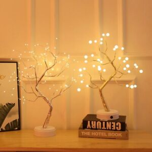 Romantic Fire Tree Shape LED Table Lamp Copper Wire Decor Fairy Night Light