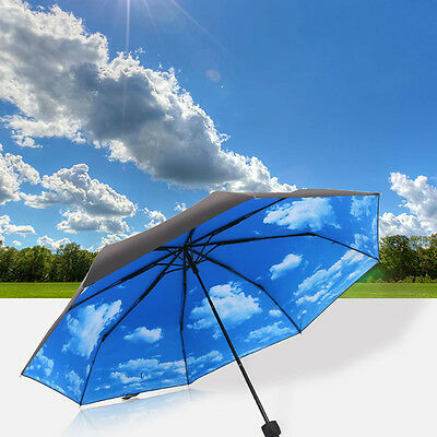 Super Anti-uv Sun Protection Umbrella Blue Sky 3 Folding Parasols Rain Umbrella