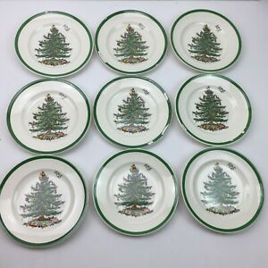 Vintage-Spode-Christmas-Tree-Set-9-Plates-Handpainted-Chipped-Porcelain-China