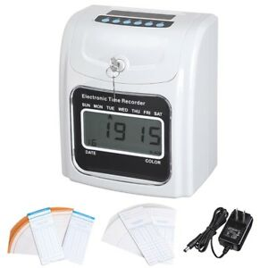 Employee Attendance Punch Time Clock Payroll Recorder LCD Display w/ 100 Cards