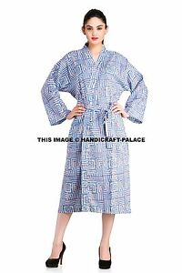 Women-039-s-Cotton-Bath-Robe-Housecoat-Dressing-Gown-Dress-Casual-Bathrobe-Indian