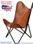 thumbnail 1 - Leather Handmade Butterfly Chair Seat Folding Modern Sling Vintage Lounge Accent