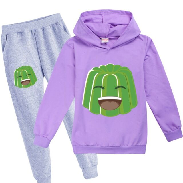 2021 UK Kids Tracksuit Jelly Green Smile Youtuber Hoodie Jogger Pants Outfits