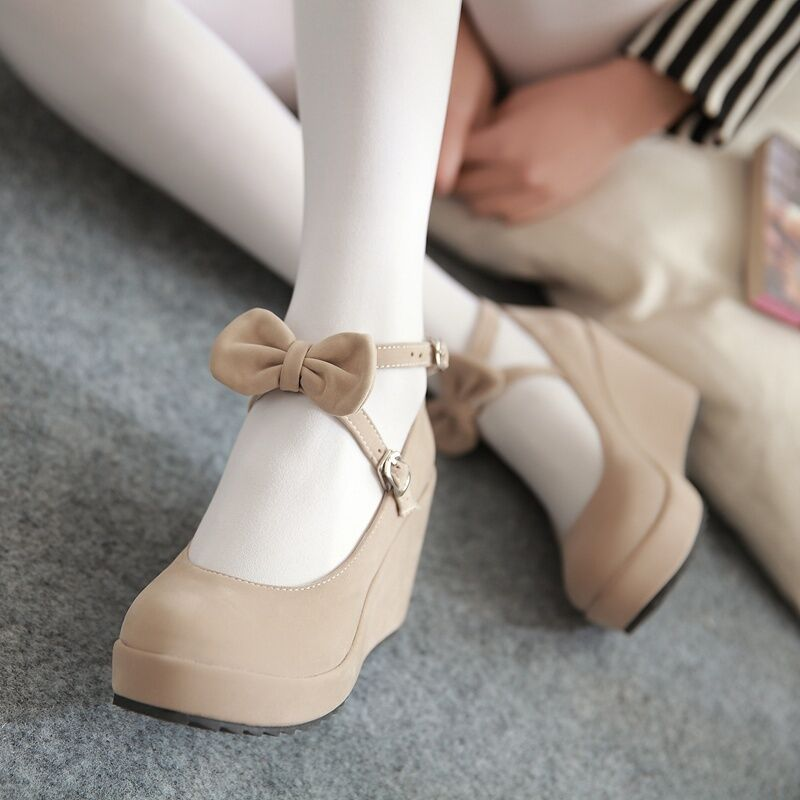 Women Fashion Fashion Women Sweet Faux Suede Ankle Strap Buckle Bow Tie Wedge High Heel Shoes 0950f1