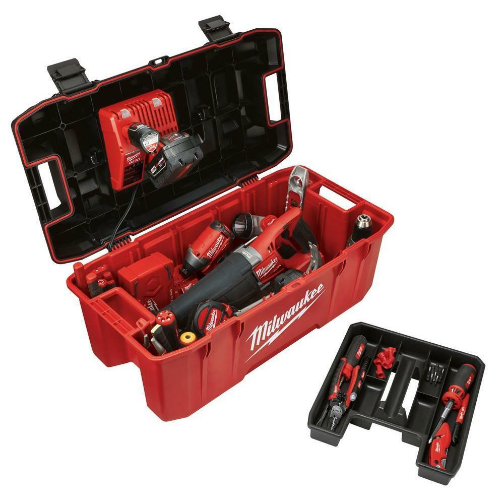 Milwaukee Huge Hi Impact Lockable Lid Jobsite Chest Tool