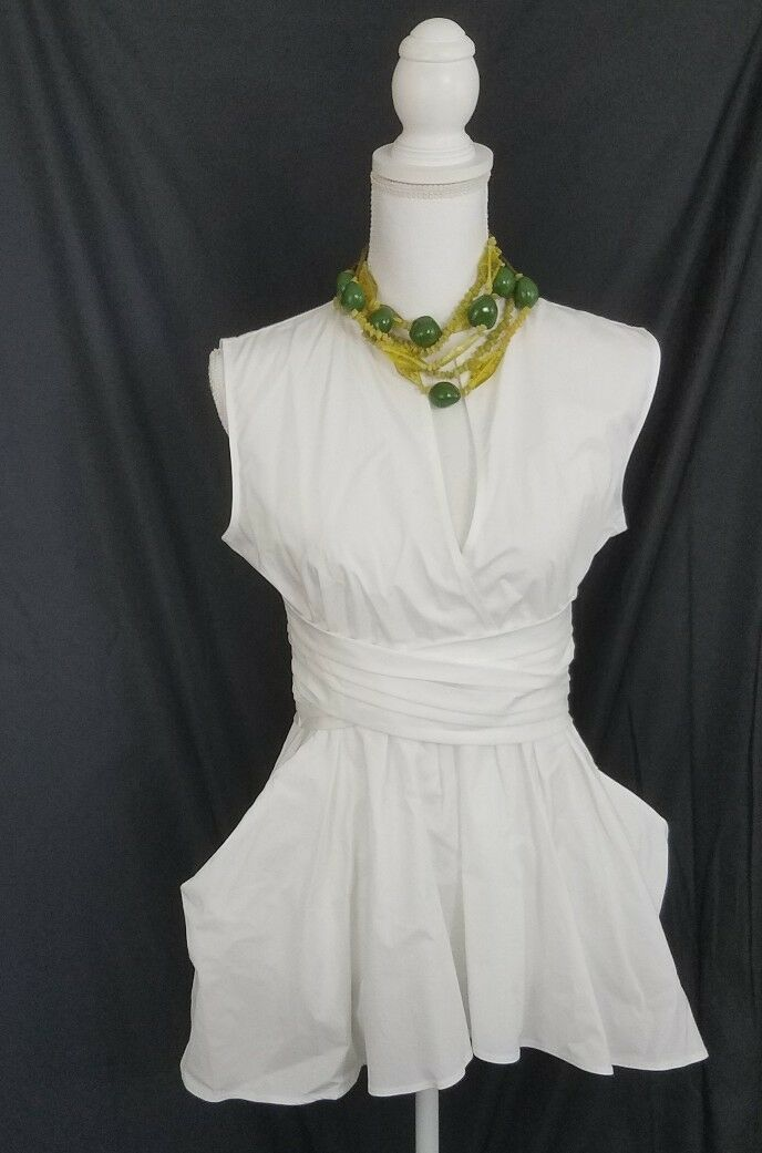 Banana Republic Weiß High Low Pocketed Tunic 4 New