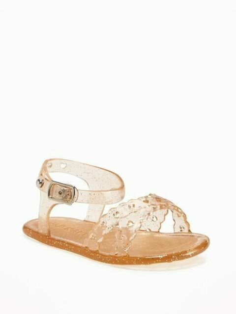 New Infant Girls Old Navy Gold Glitter Jelly Sandals Size 2 3 5