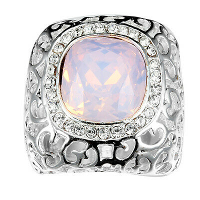 Noble Jewelry Fashion Silver pink Opal wedding rings women size 6-10