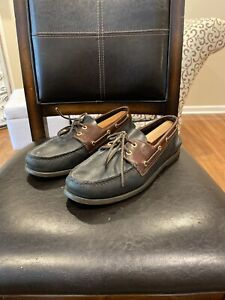 Sperry-Top-Sider-Mens-Size-11-Wide-A-O-2-Eye-Boat-Shoes-Black-Brown-Leather