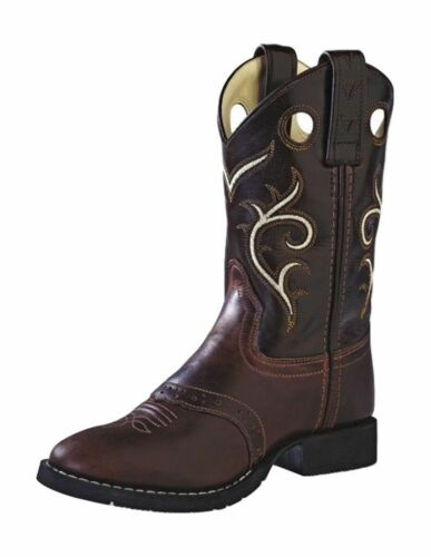 Old West Brown Childrens and Youth Leather Round Toe Cowboy Boot CW2519