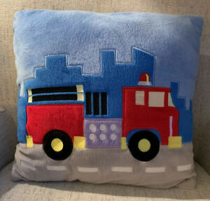 Transportation-Airplane-Fire-Truck-Blue-Fuzzy-Decorative-Pillow-Kids-Playroom