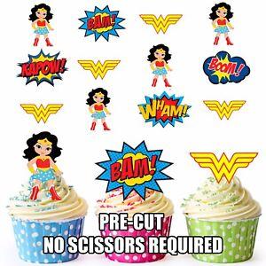 Pre Cut Superhero Wonder Woman Edible Cup Cake Toppers Decorations