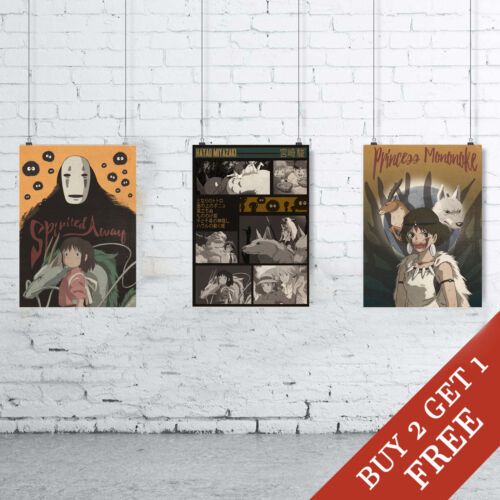 Alternative Movie Poster Designs A3//A4 Size HAYAO MIYAZAKI Set of 3 Art Prints