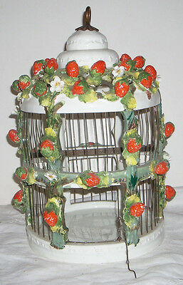 Exceptional Beautiful Vintage Italian Majolica Pottery Bird Cage Perch & Trays