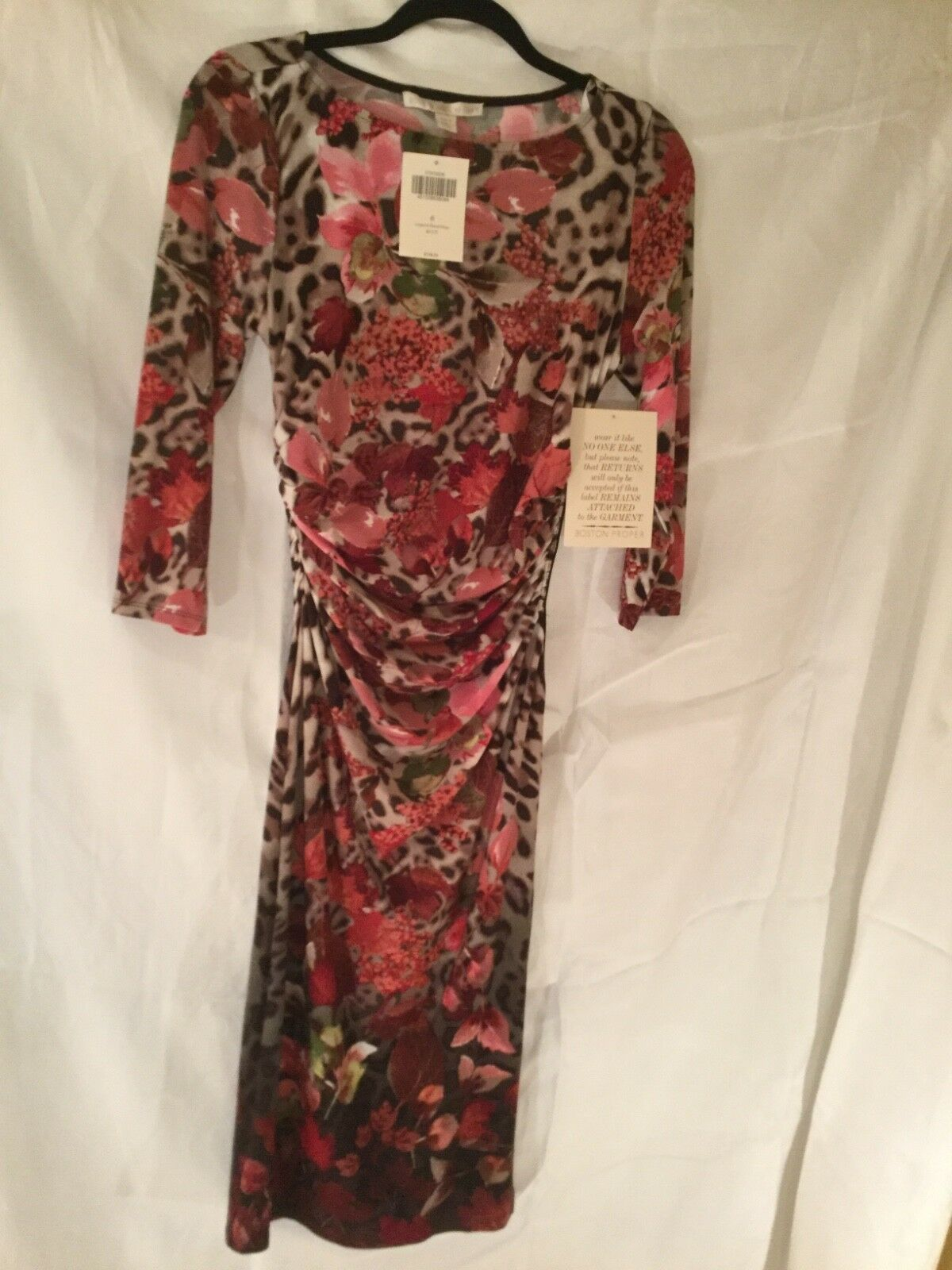 """Boston Proper """"Leopard Floral Dress"""" NEW WITH TAGS Women's size 8 Multi colors"""