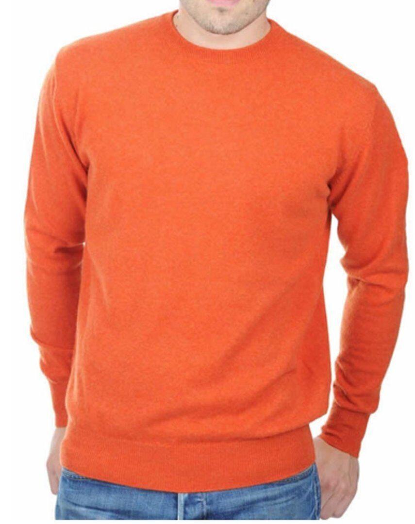 Balldiri 100% Cashmere Kaschmir Herren Pullover Rundhals exklusiv Orange M