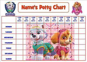 Paw Patrol Pink Personalised Potty Toilet Reward Chart