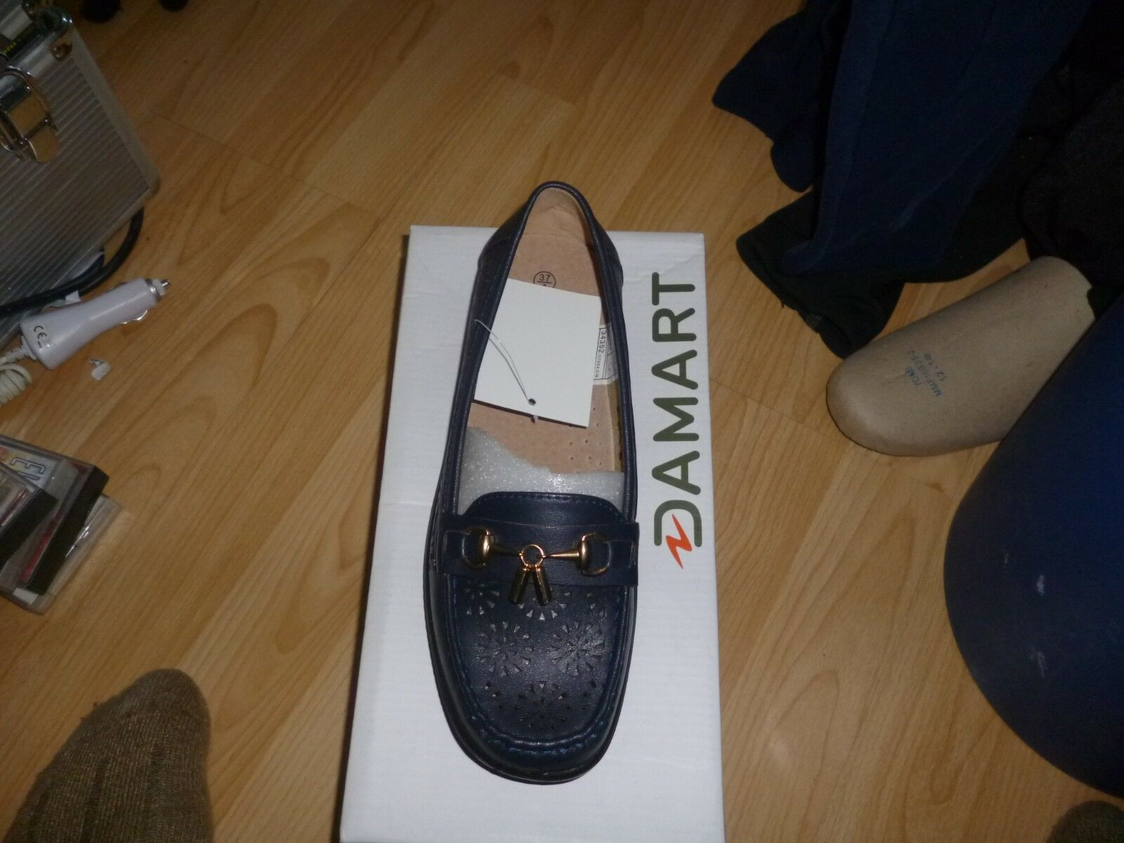 Womens  Ladies Damart Coussin D'air mocassin navy size 4.New