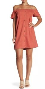 f1087e64b74163 New Madewell Texture   Thread Off-the-Shoulder Dress Spiced Rose Sz ...