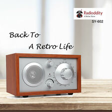 Radioddity SY-602 Classic Wooden Case AM / FM Table Top Radio Cabinet Receiver