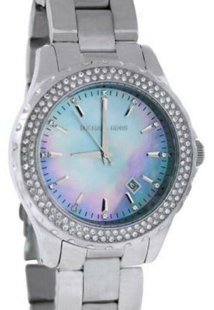 MICHAEL KORS MK5451 MADISON Silver Tone Crystal Bezel Blue Dial Women Watch e8abfb6dbd