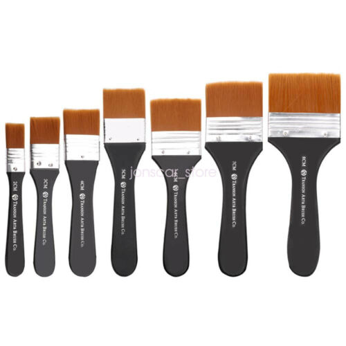Nylon Hair Chip Paint Brush Set Flat Brushes for Acrylic Oil Painting and Craft