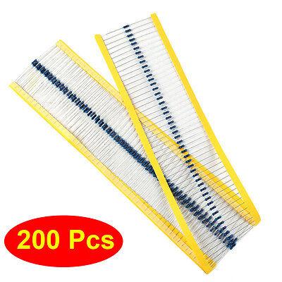 200Pcs 1/4W Metal Film Resistors 1ohm 47ohm 100ohm 220ohm 470ohm 1K 10K 100K 1M
