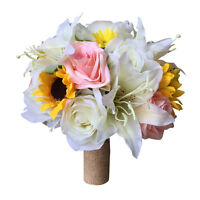 10 Bouquet- Ivory, Yellow,pink Artificial Flowers