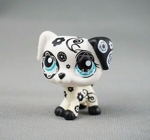 lps littlest pet shop dalmation dog 1613 black white flower