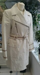 pretty nice e3dca 54ef0 Details about Gil Bret designer trench coat beige size 10 - 100% Linen -  Fab Condition White