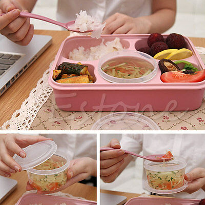 New Microwave Bento Lunch Box + Spoon Utensils Picnic Food Storage Box Container