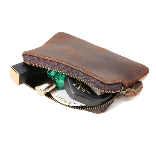 Unisex Leather Zip Pouch ID Credit Card Holder Coin Purse Money Bag Mini Wallet