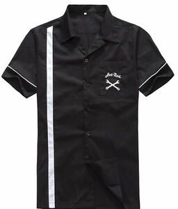 Mens-Hot-Rod-Bowling-Shirts-Black-Embroidery-Button-Up-Vintage-Work-Shirts