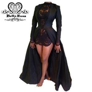 Sexy-gotische-Spitze-hohe-Taille-schiere-Jacken-lange-Kleider-Party-Kostuem